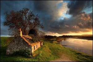 scotland cottage sunset